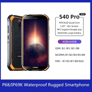 DOOGEE S40 Pro Android 10 Rugged Smartphone IP68/IP69K 4GB 64GB Octa Core 13MP Mobile Phone Octa-core NFC 4G LTE Cellphone starveitu for doogee bl5000 power volume fpc replacment flex cable 5 5 mtk6750t octa core mobile phone