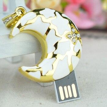 Jewelry Moon USB Flash Memory Stick Key Necklace Creativo USB 2.0 Flash Pendrive 1TB 2TB Gift USB Flash Drive 16GB 64GB 128GB