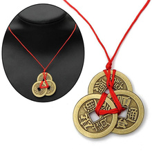Chinese Lucky Coins Ancient Good Luck Feng Shui Pendant Fortune Money Necklace Chain Choker Jewelry Gift for Men Women Hot Sale