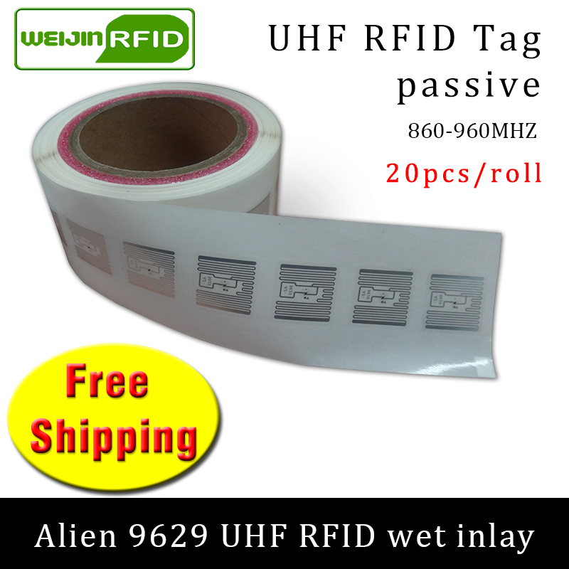 UHF RFID Tag Sticker Alien 9629 Wet Inlay 915m868 860-960mhz Higgs3 EPC 6C 20pcs Free Shipping Self-adhesive Passive RFID Label
