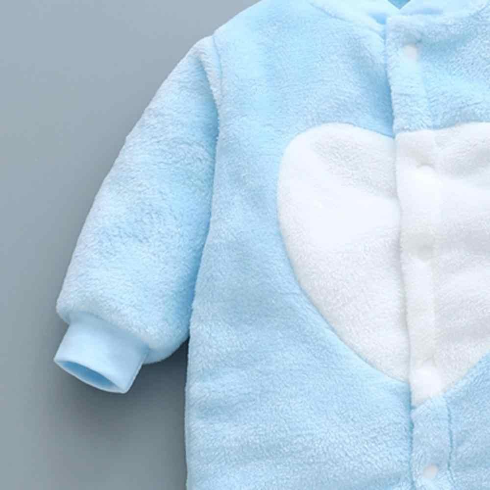 Bebek kız erkek kalın Romper sıcak kış yenidoğan bebek bebek leopar Carto polar Romper tulum yumuşak pijama giysileri 2019 yeni