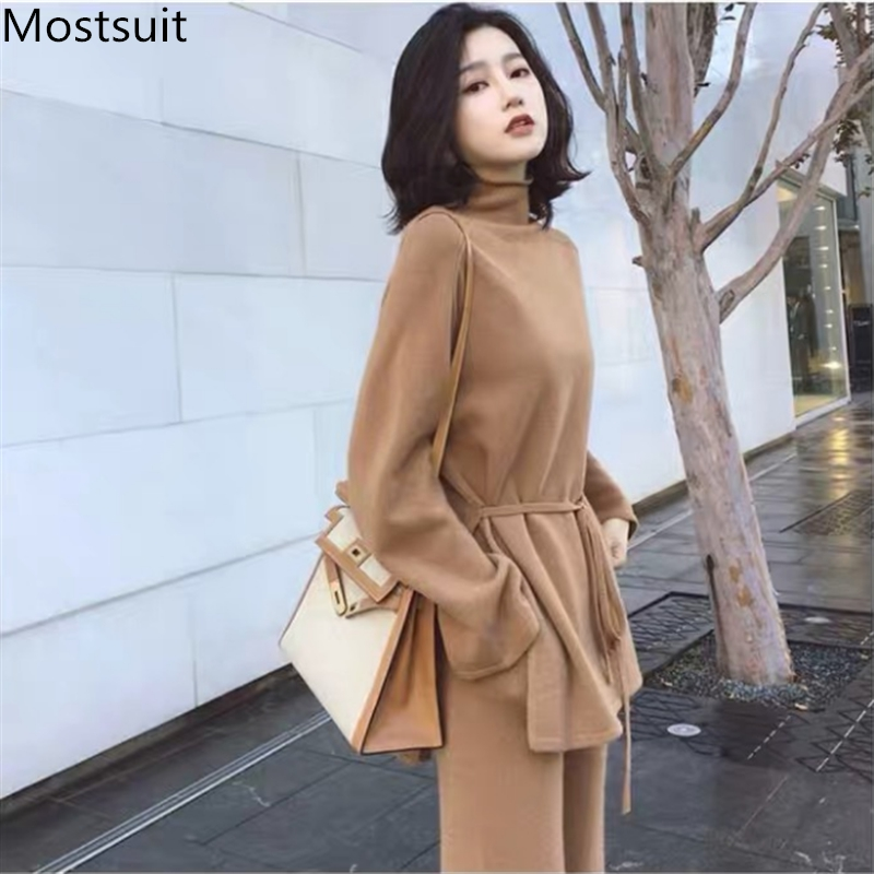 Plus Size Knitted 2 Piece Sets Outfits Women Turtleneck Pullover Sweaters And Wide Leg Pants Suits Autumn Winter Elegant Sets 33