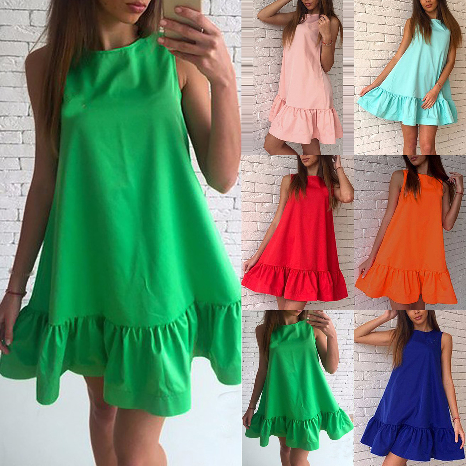 Vintage Oversized Woman Dress Casual O neck Solid Color Vest Sleeveless Soft Pleated Dress Elegant Bohe Sleeveless Dresses