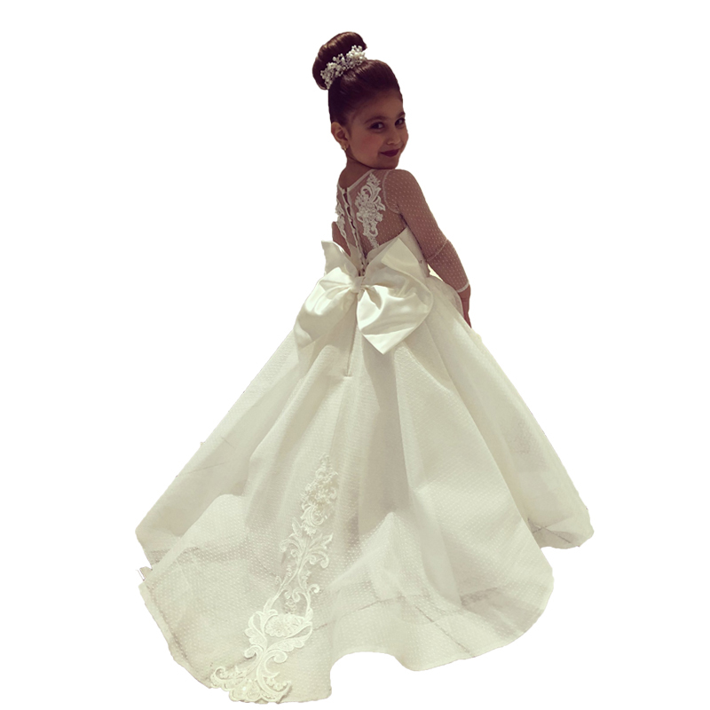 Long Sleeve   Flower     Girl     Dresses   with Train Little Bride White Kids Pageant Ball Gowns Lace   Girls   First Communion   Dresses   2020