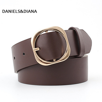Golden Double Buckle Women Belt High Quality Faux Leather Belts for Women Jeans Korean Style Hollow Out Wide Waistband цена 2017