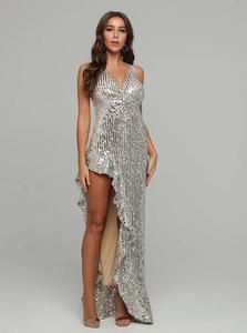Image 1 - فستان نسائي مثير بياقة على شكل V مع ترتر مكشكش للحفلات فستان طويل للسهرات بتصميم للسيدات