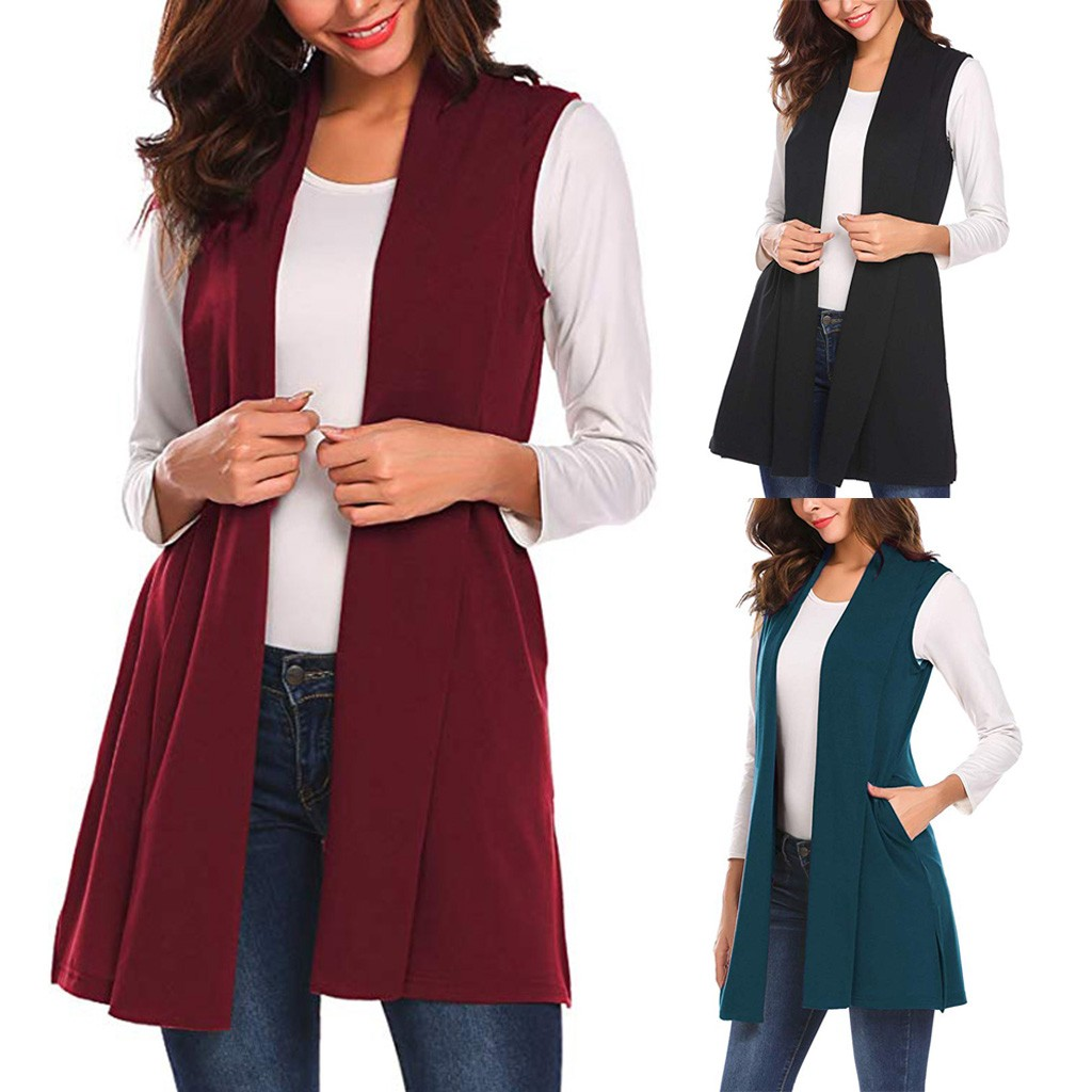 2019 Hot ProductsWomens Long Vests Sleeveless Draped Lightweight Open Front Cardigan Vest Dropshipping Free Shipping Man Woman B