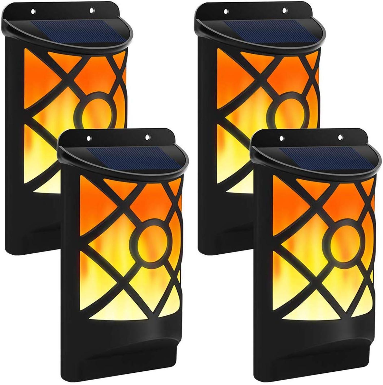 Solar Flickering Flames Lights 66 LED Waterproof Solar Courtyard Wall Lamps For Garden Decoration Outdoor Lighting Night Light
