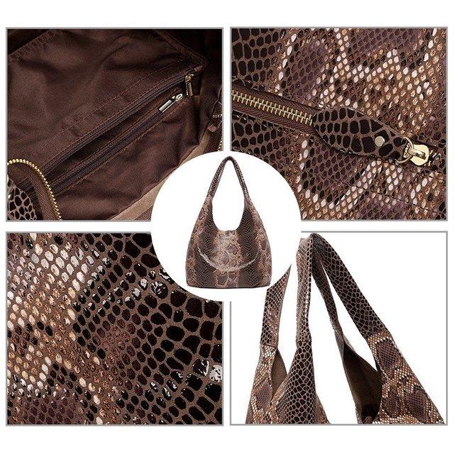 Купить женская кожаная сумка тоут с текстурой змеиной кожи картинки