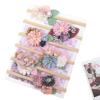 Pearl Artific Flower Baby Headbands For Girls Toddler Handmade Nylon Elastic Hair Band Hairband Newborn Accessories - discount item  30% OFF Kids Accessories