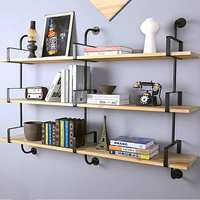 2Pcs Industrial Style Retro Wall Mount Iron Pipe Shelf Hanging Bracket DIY Storage Shelving Rack Home Decor Bookshelf Wall Shelf