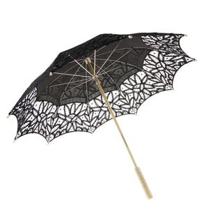 Image 5 - اليدوية القطن الدانتيل المطرزة مظلة واقية من الشمس الزفاف دش ديكور أسود