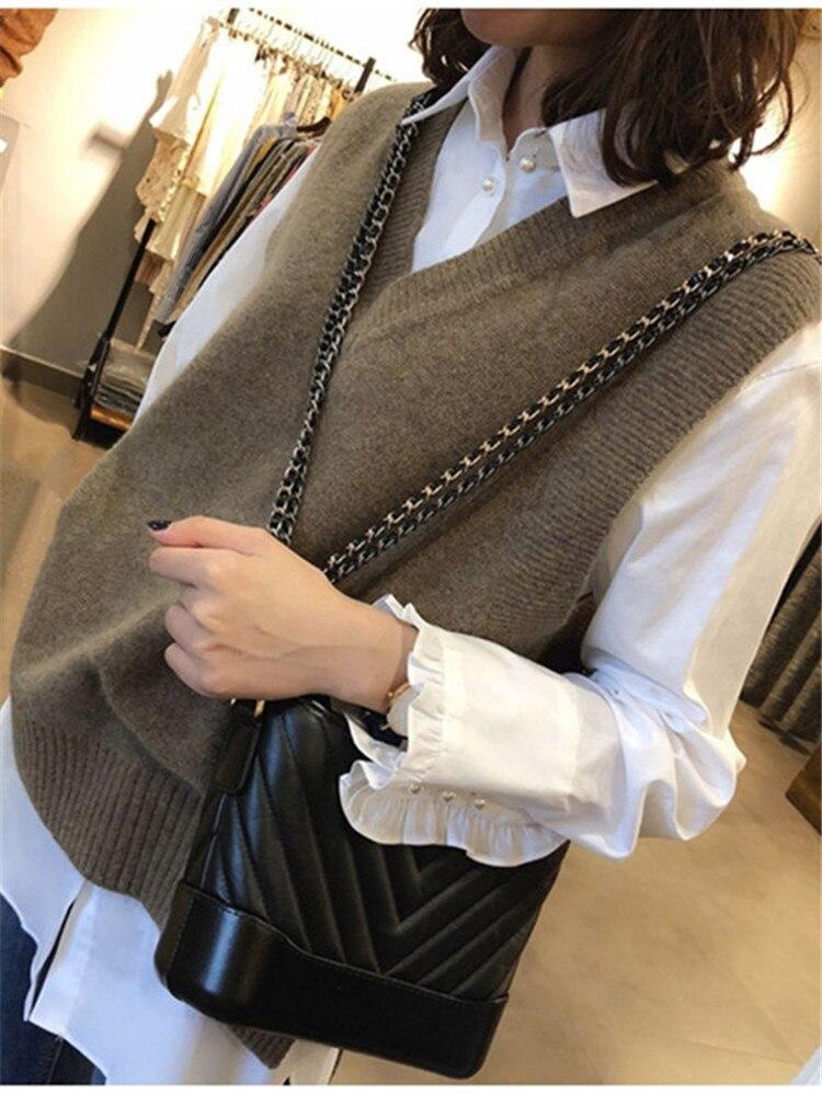Vest Sweater Pullover Short Knitted Women Girls Autumn V-Neck Winter Casual Sleeveless