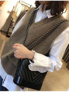 Vest Sweater Pullover Short Knitted Girls Autumn V-Neck Winter Women Sleeveless Warm