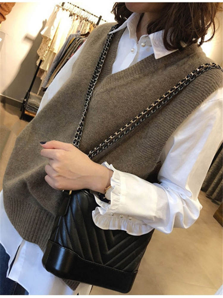 Vest Sweater Pullover Short Knitted Girls V-Neck Winter Casual Women Sleeveless Autumn