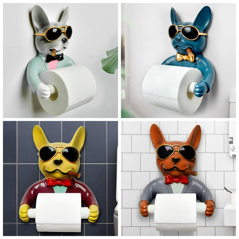 Toilet Paper Holder, Dog Image Toilet Hygienic Resin Tray Free Punching Hand Paper Tray Household Paper Towel Rack Reel