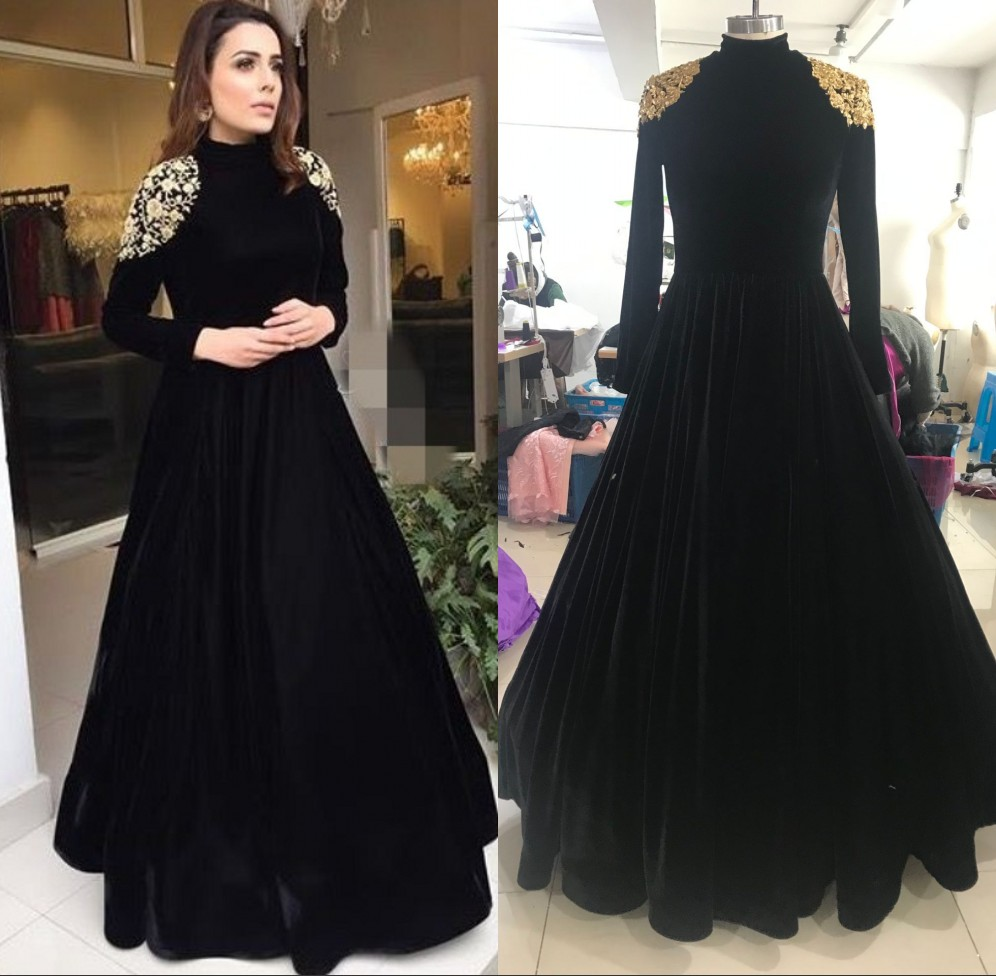Sexy Elegant Women Formal Gala Long Dress Plus Size Arabic Muslim Black Long Sleeve Evening Prom Dresses Gown 2019