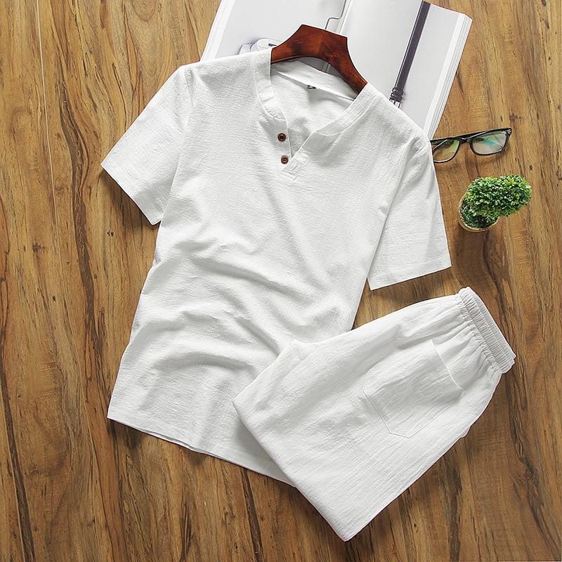 V Neck T-Shirt Shorts Men Short Sets Linen Tracksuit Men Summer Short Sleeve Casual Suit Male Plus Size Two Piece Sets Clothing