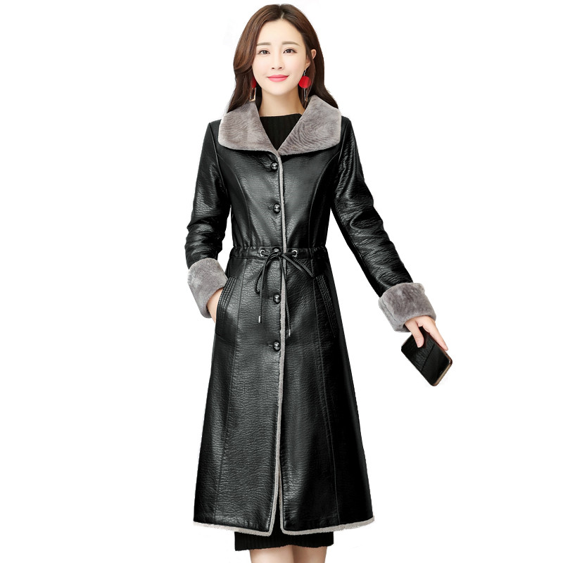 2019 Winter Warm Leather Jacket Women Fashion Sheepskin Coat Long Lamb Cashmere Outerwear Black Large Size 5XL M384