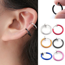 Hot selling 1 Piece Fake Nose Ring Goth Punk Lip Ear Nose Clip On Fake Septum Piercing Nose Ring Hoop Lip Hoop Rings Earrings(China)