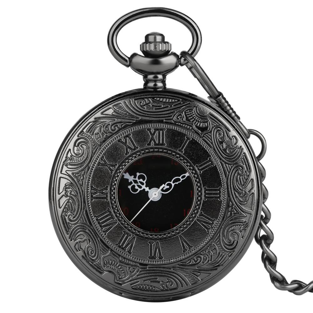 New Arrival Pocket Watch Steampunk Black Roman Numbers Hollow Quartz Elegant Men Women Pendant Gift  Relogio De Bolso
