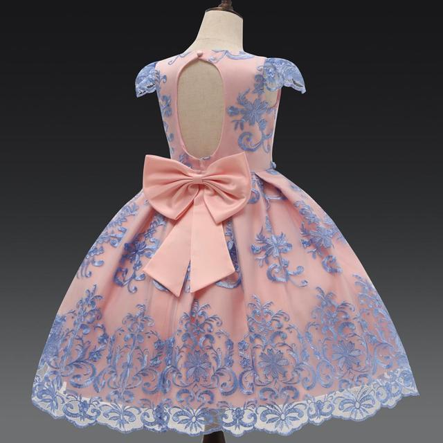 Lüks yay prenses parti elbise bebek kız giysileri çiçek dantel elbiseler kızlar için resmi doğum günü elbise çocuk elbiseleri elbise 7T