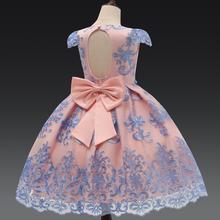 Luxo arco princesa vestido de festa do bebê roupas da menina flor vestidos de renda para meninas roupas de aniversário formal crianças vestidos robe 7 t
