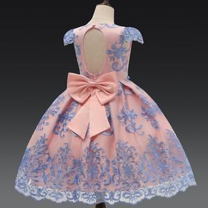 Image 1 - Vestido de fiesta de princesa con lazo de lujo para niña, vestidos de encaje con flores para niñas, ropa Formal de cumpleaños para niños, bata 7T