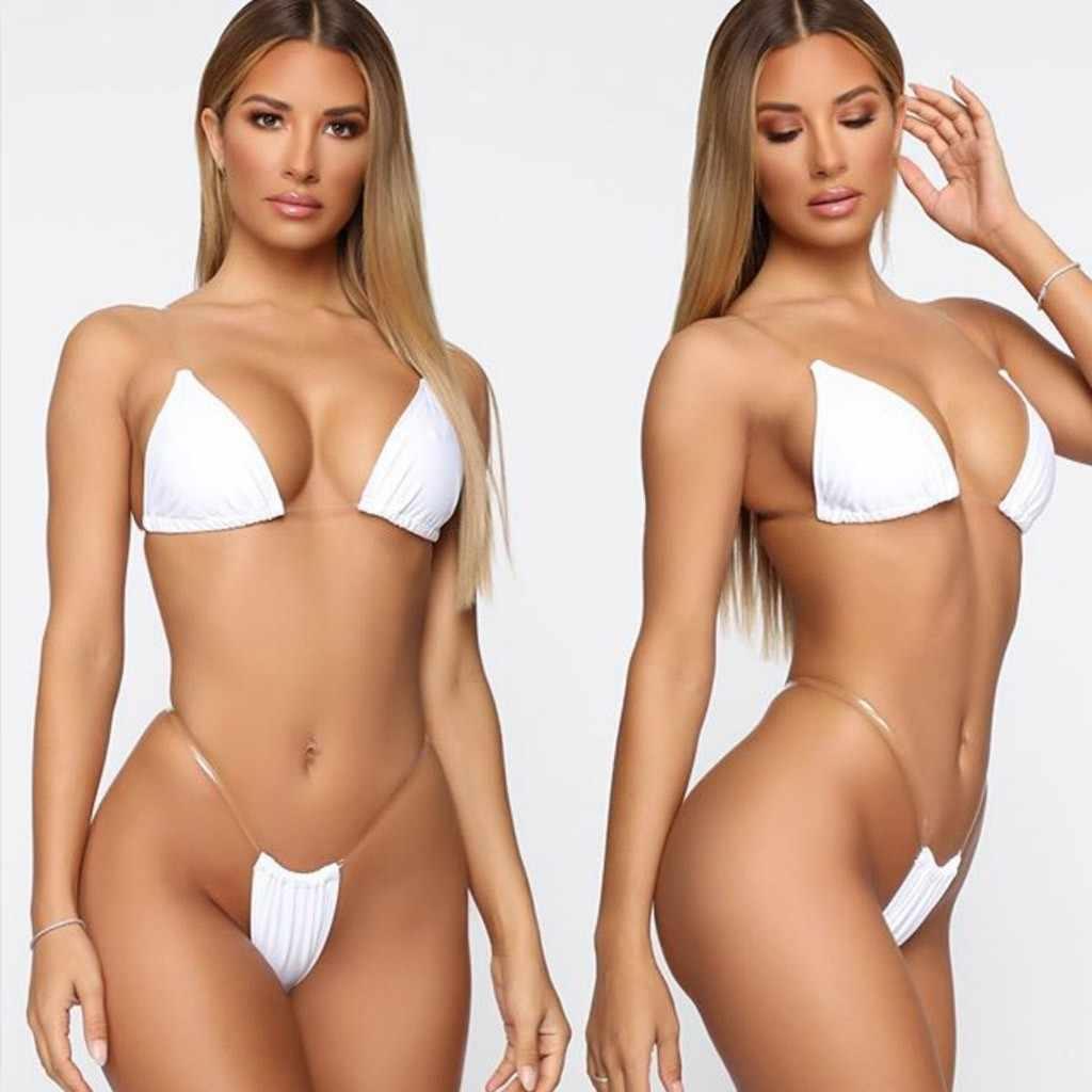 Seksi Bikini Set Warna Solid Halter Micro Baju Renang Wanita Tansparent Tali Push Up Bikini Latex Bikini 2020 Mujer Baju Renang