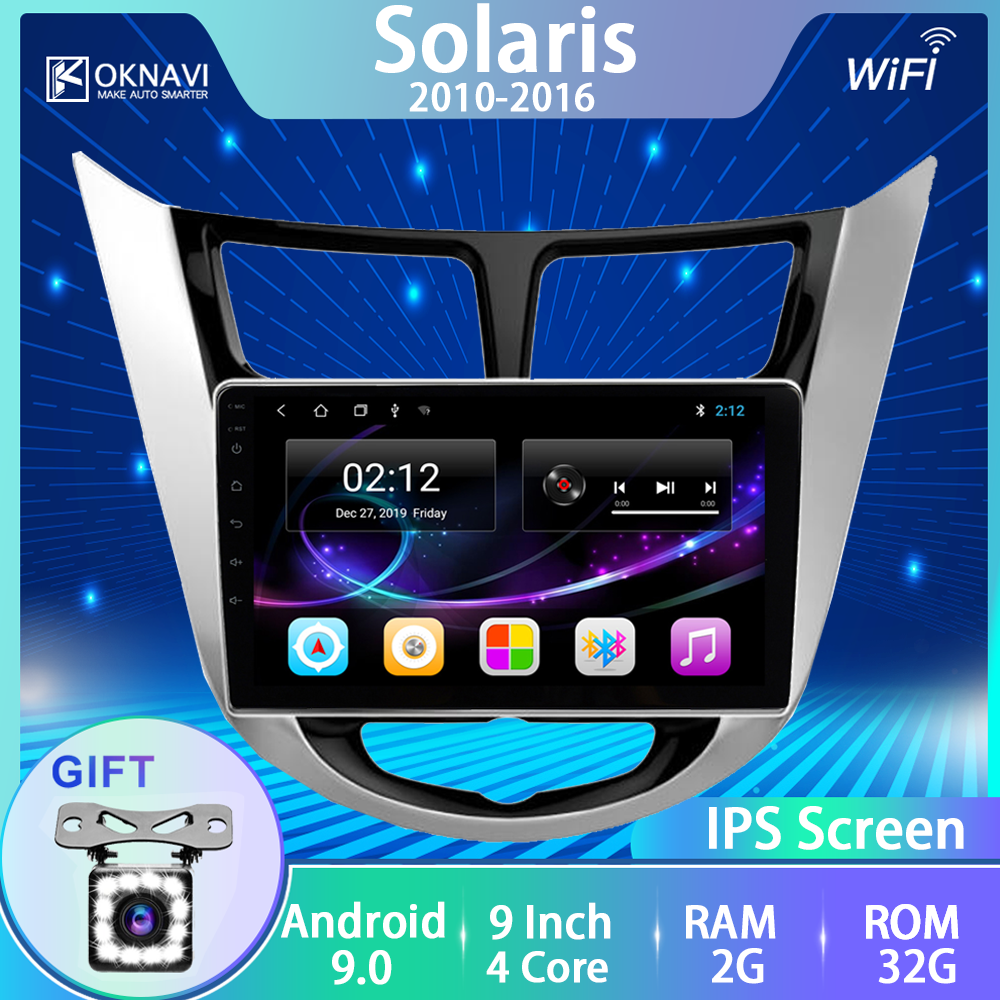 OKNAVI Android 9.0 Car Radio Multimedia Video Player For Hyundai Solaris 2010-2016 GPS Navigation Frame Rear View 12 LED Camera