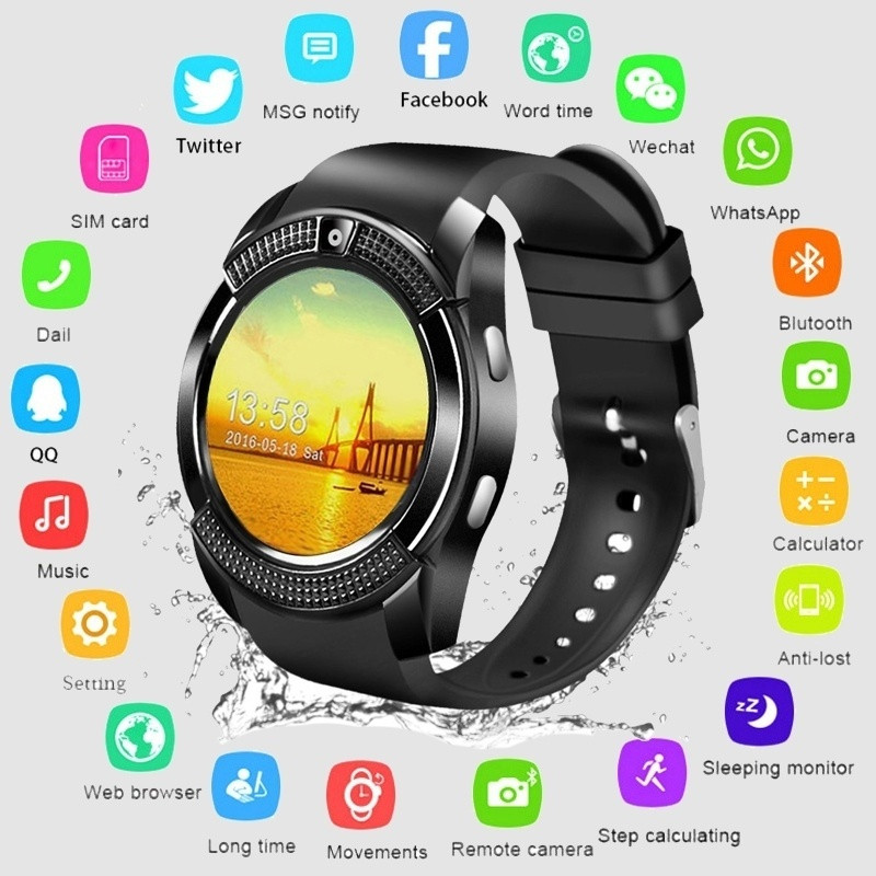 2019 New V8 Bluetooth Smart Watch Sports Fitness Tracker SD Card SIM Card  Smartwatch Phone Pedometer Sleep Monitor|Lover's Watches| - AliExpress