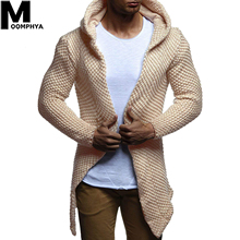 Moomphya Hooded Long Style Sweater Trench Coat Men 2019 Streetwear Hip Hop Zippe