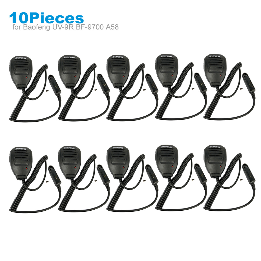 10 Pieces PTT Shoulder Microphone Speaker Mic For BAOFENG A58 BF-9700 UV-9R Plus GT-3WP R760 82WP Walkie Talkie Two Way Radio