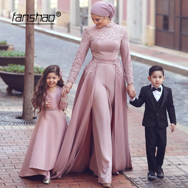 Dark Pink Muslim Evening Dresses Long Sleeves Jumpsuit Detachable Scarf Islamic Dubai Saudi Arabic Evening Gown Prom Dress