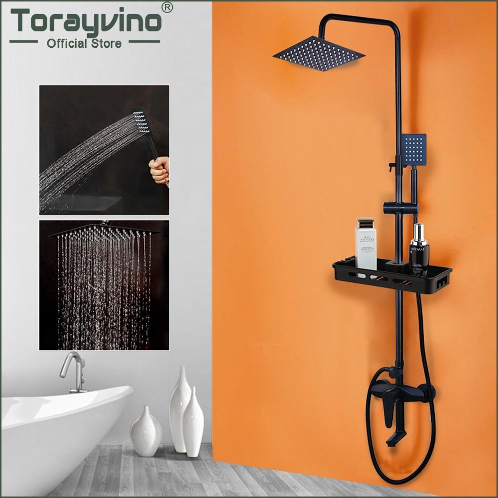 Torayvino Matte Black Wall Mounted Rainfall Shower Faucet With Storage  Shelf Bathroom Bathtub Shower Faucets Mixer Tap Combo Set