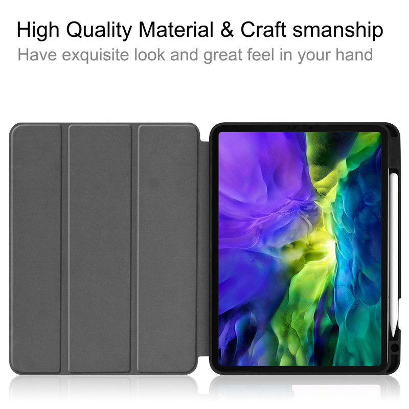 Funda For iPad Pro 11 2020 Case With Pencil Holder Smart Cloth Textured Stand TPU Soft