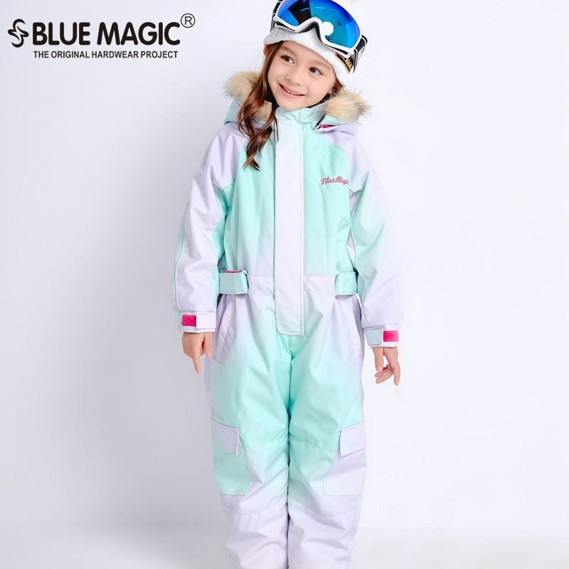 Bluemagic зимние лыжные костюмы для малышей, один предмет для детей, водонепроницаемый теплый комбинезон для девочек и мальчиков, Сноубордическая куртка, комбинезон-30 градусов - Цвет: AURORA