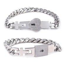 2 pçs tom de aço inoxidável amante coração amor bloqueio pulseira com bloqueio chave pulseiras kit casal jóias presente