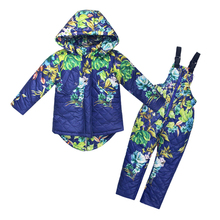 Winter Children Clothing Sets Girls Warm Floral Parka Down Jacket + Jumpsuit Kids Snow Wear 2019 New Girls Boys Clothing Set все цены
