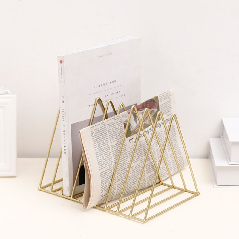 Iron LP Record Rack Triangle Book Magzine Holder Desk Record Storage Organizer 3