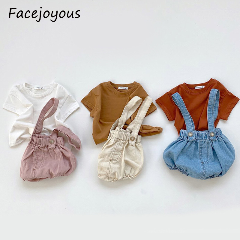 Baby Clothes Set Summer Girls T Shirt + Boys Denim Overalls Baby Strap Jumpsuit Outfits 2pcs Newborn Baby Boy Clothing Sets