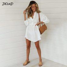 موضة القطن فستان من الكتان المرأة أنيقة التلبيب نفخة كم فستان صيفي الإناث عادية الأبيض تحقق عالية الخصر فساتين الملابس