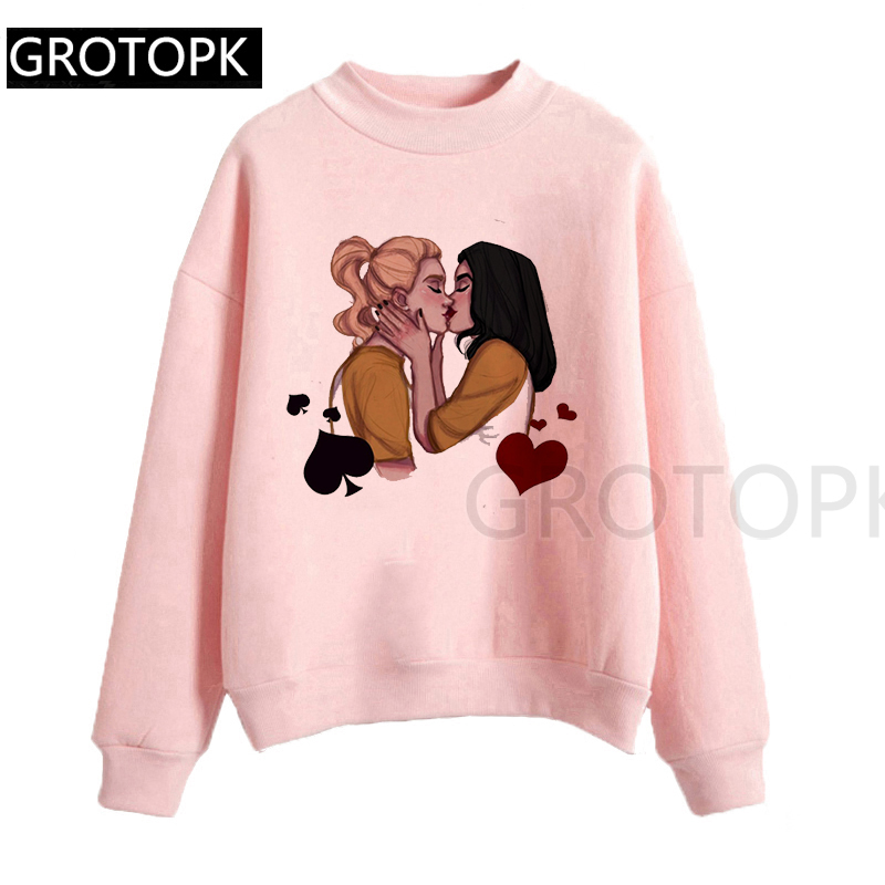 Spring Autumn Tops Print Riverdale Best Friends BFF Print Pretty Hoodeds O-Neck Long Sleeve Women Hoodie Kawaii Girl Pink Shirt