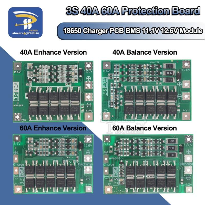 3S/4S 20A 40A 60A Li-ion Lithium Battery Charger Protection Board 18650 BMS Drill Motor 11.1V 12.6V/14.8V 16.8V Enhance/Balance