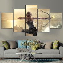 цена на Modular Game Poster Paintings 5 Piece Tomb Raider Lara Croft Pictures Canvas Paintings Wall Artworks for Home Decoration Frame