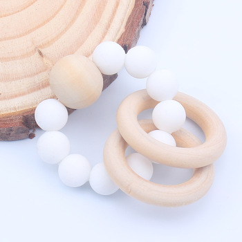 Wooden Teether Baby Nursing Bracelets Silicone Teether Teething Wood Rattles Toys Baby Teether Bracelets Nursing Toys Gift 1