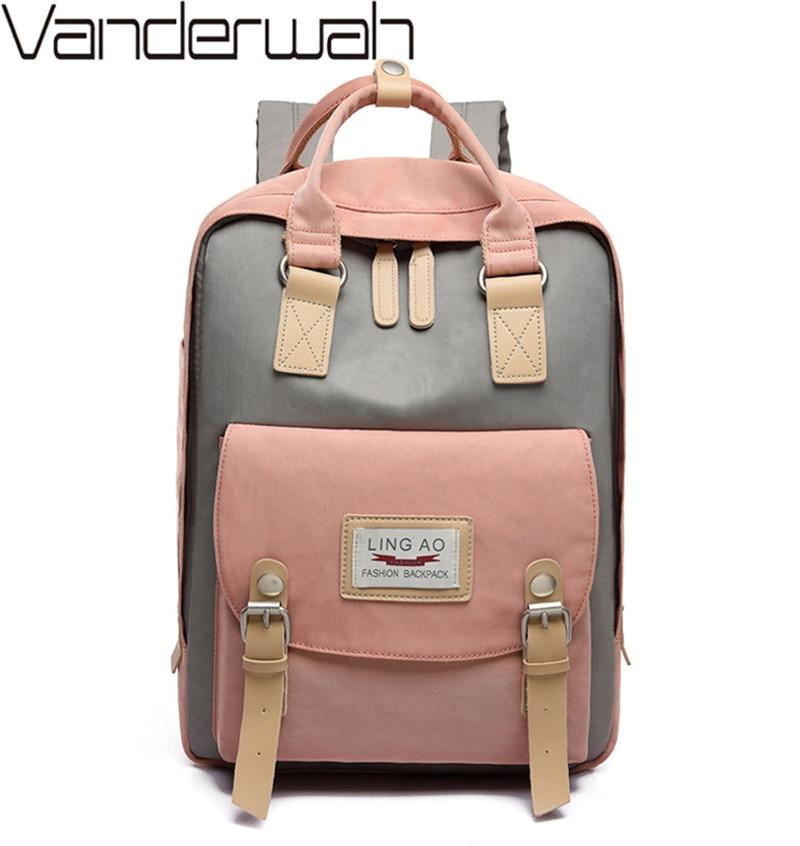 Waterproof Nylon Patchwork Women Backpacks Canvas Laptop Backpack Schoolbag For Teenagers Girls Travel Backpacks Female Mochilas
