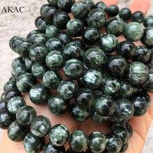 Pulsera de seraphinita verde natural para fabricación de joyas, 7 7,5mm /8 8,5mm/9 9,5mm /10 10,5mm, envío gratis