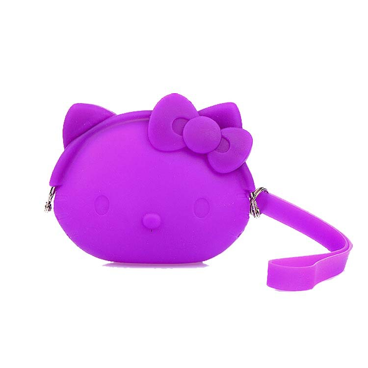 Creative Cute Cartoon Silicone Wallet Hello Kitty Silicone Coin Purse With Carrying Strap Soft Coin Bag