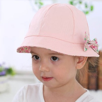 Summer baby girl Sun Hat Cotton Baby Cap childrens hat bow flower print bucket cap Double Wear